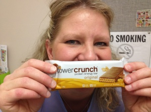 Jana shared her peanut butter Power Crunch Bar with me