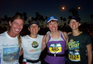 Dana, me, Sherrie, and Kara at the early start at Long Beach