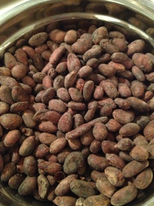 cacao beans: after roasting but before cracking