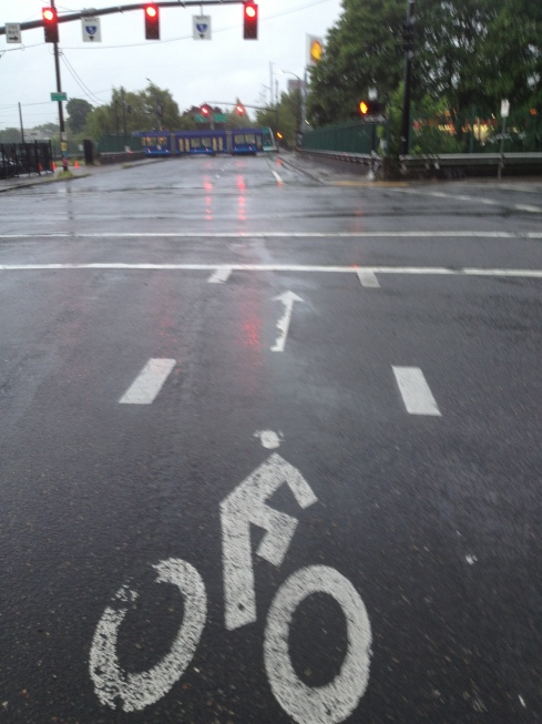 There is always at least one other cyclist at this intersection with me....NOT TONIGHT!