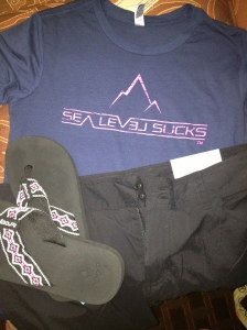 Sea Level Sucks shirt, black Patagonia shorts, & much needed Reef flip flops