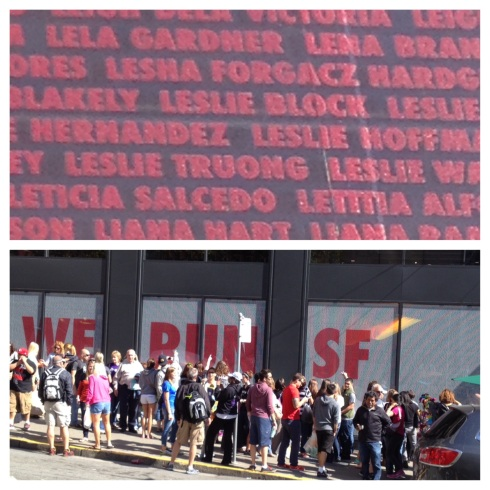 Everyone's names are printed on the side of Niketown
