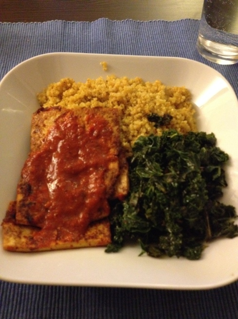 Chimichurri tofu, quinoa, and kale