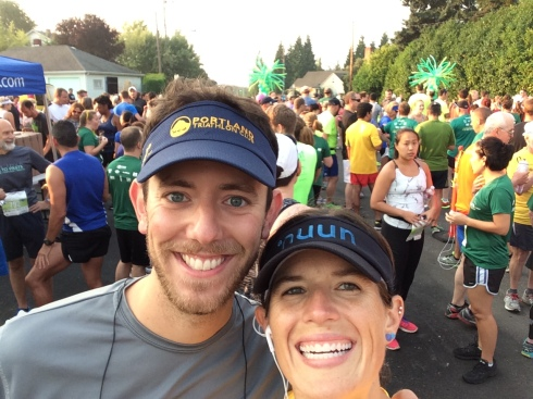 The start line! (the green balloons behind us)