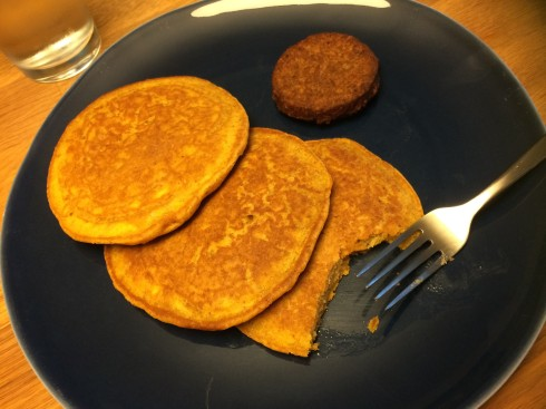 Wheat pancakes and veggie sausage
