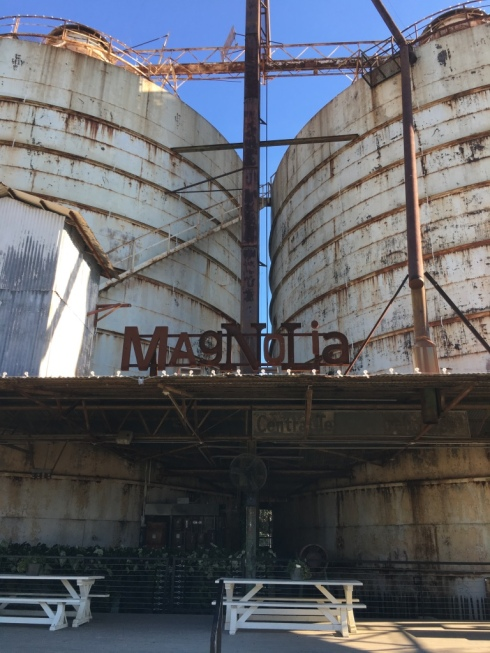 magnolia sign with silos